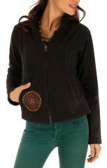 Veste chaude pour femme en polaire noire ethnique chic Ella 313246