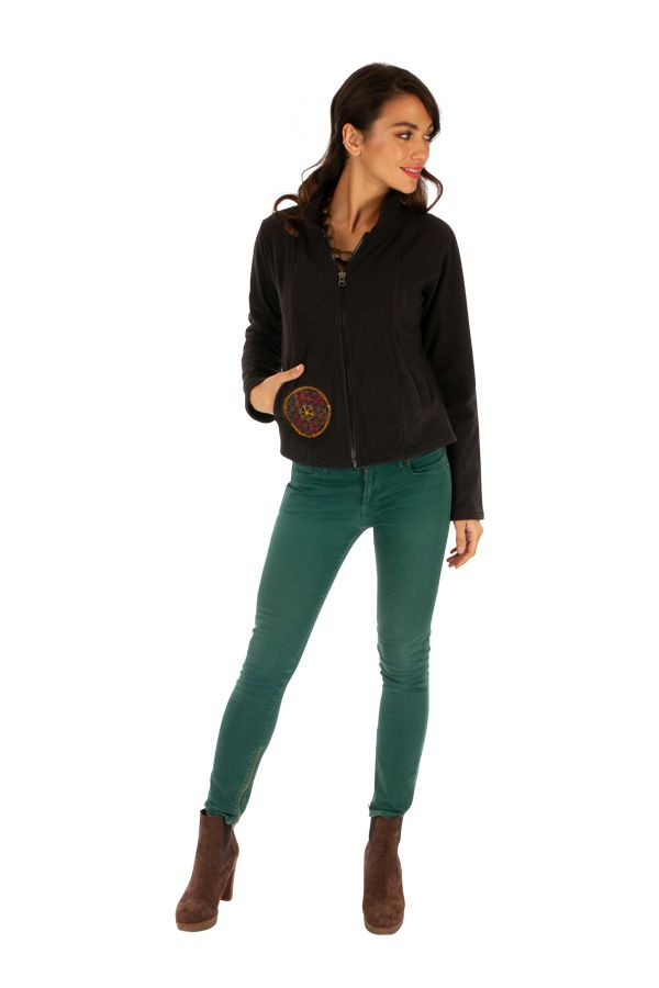 Veste chaude pour femme en polaire noire ethnique chic Ella 313247