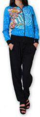 Veste courte à manches longues Ethnique et Colorée Cathie Bleue 274384