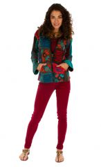 Veste courte ethnique femme effet patchwork et déchiré Kérou 313576
