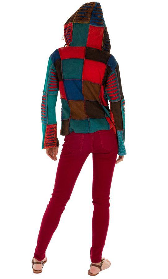 Veste courte ethnique femme effet patchwork et déchiré Kérou 313577