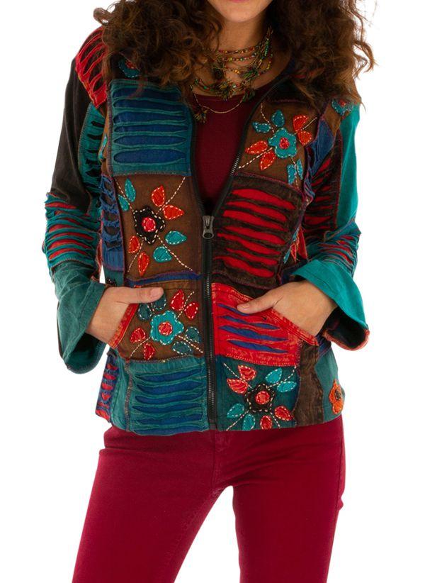 Veste courte ethnique femme effet patchwork et déchiré Kérou 313578
