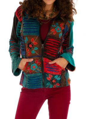 manteau ethnique pour femme en velours | Coline