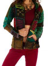 Veste courte femme ethnique et originale effet patchwork Kérou 314472