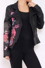 Veste courte femme originale noire avec un imprimé Lounah 304167