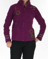 Veste en polaire Colorée et Chaude pour Femme en polaire Shainel Mauve 276205