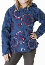 Veste en polaire pour fillette à capuche de couleur bleu 287634