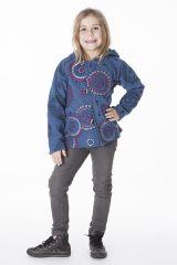Veste en polaire pour fillette à capuche de couleur bleu 287635
