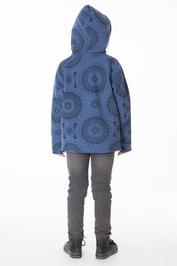 Veste en polaire pour fillette à capuche de couleur bleu 287636
