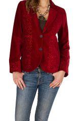 Veste en velours à broderies avec doublure polyester imprimée Rouge Palomina 300750