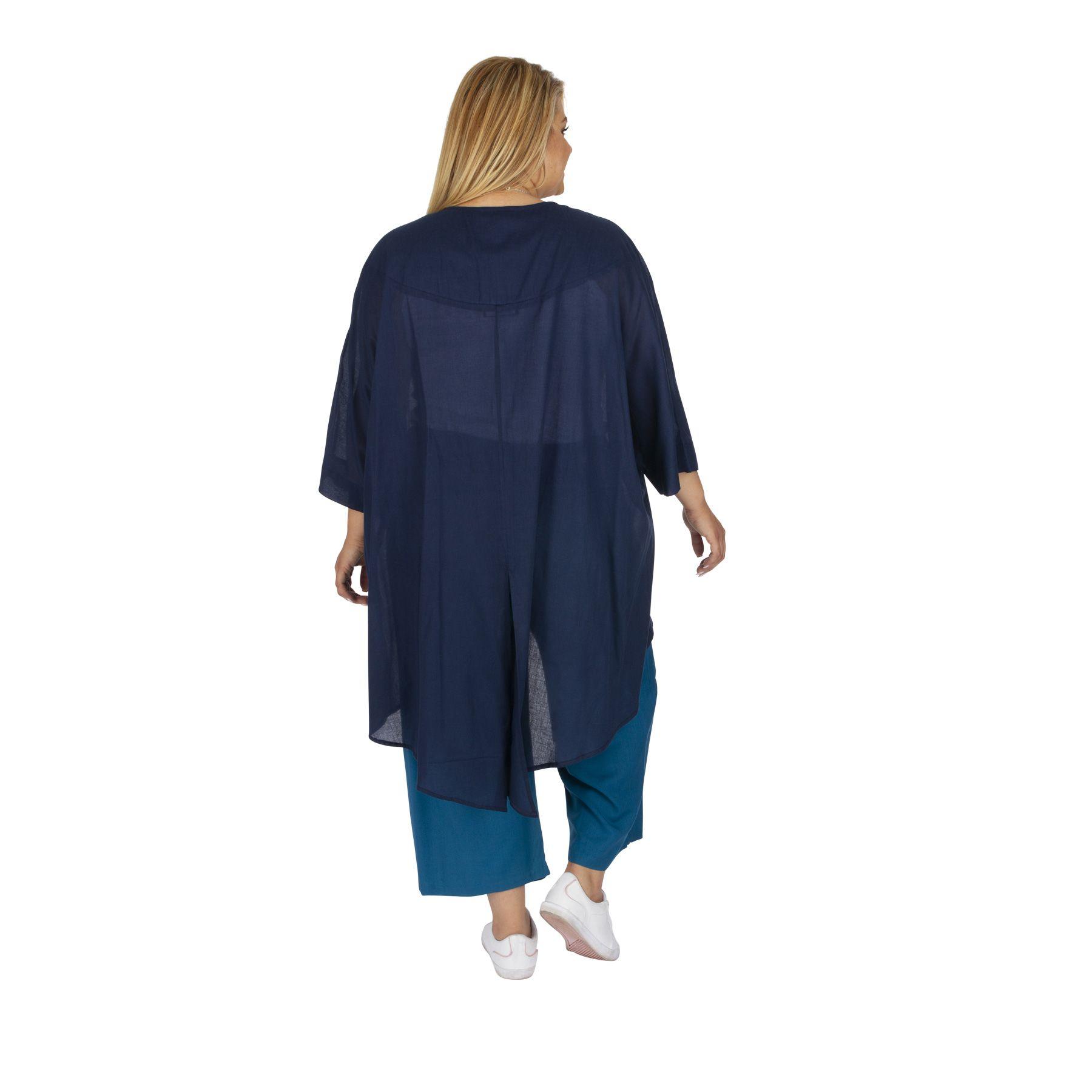 Veste été grande taille femme unie bleu marine Altené