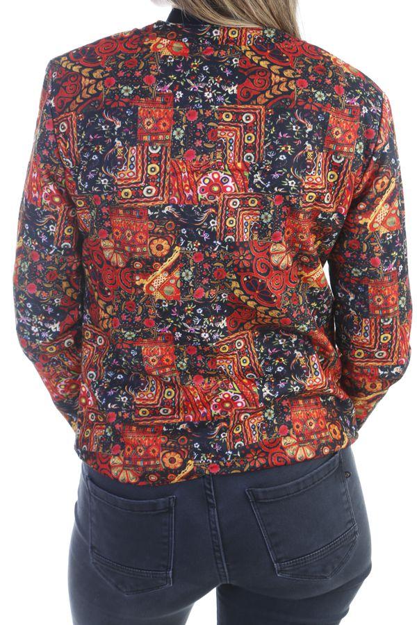 Veste ethnique colorée à fermeture zip multicolores Prisky 305092