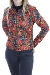 Veste ethnique colorée à fermeture zip multicolores Prisky 305129
