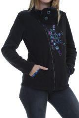 Veste ethnique femme tendance noir et imprimés colorés Naki 304062