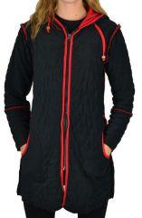 Veste ethnique mi- longue original noir et rouge Pwel 304548