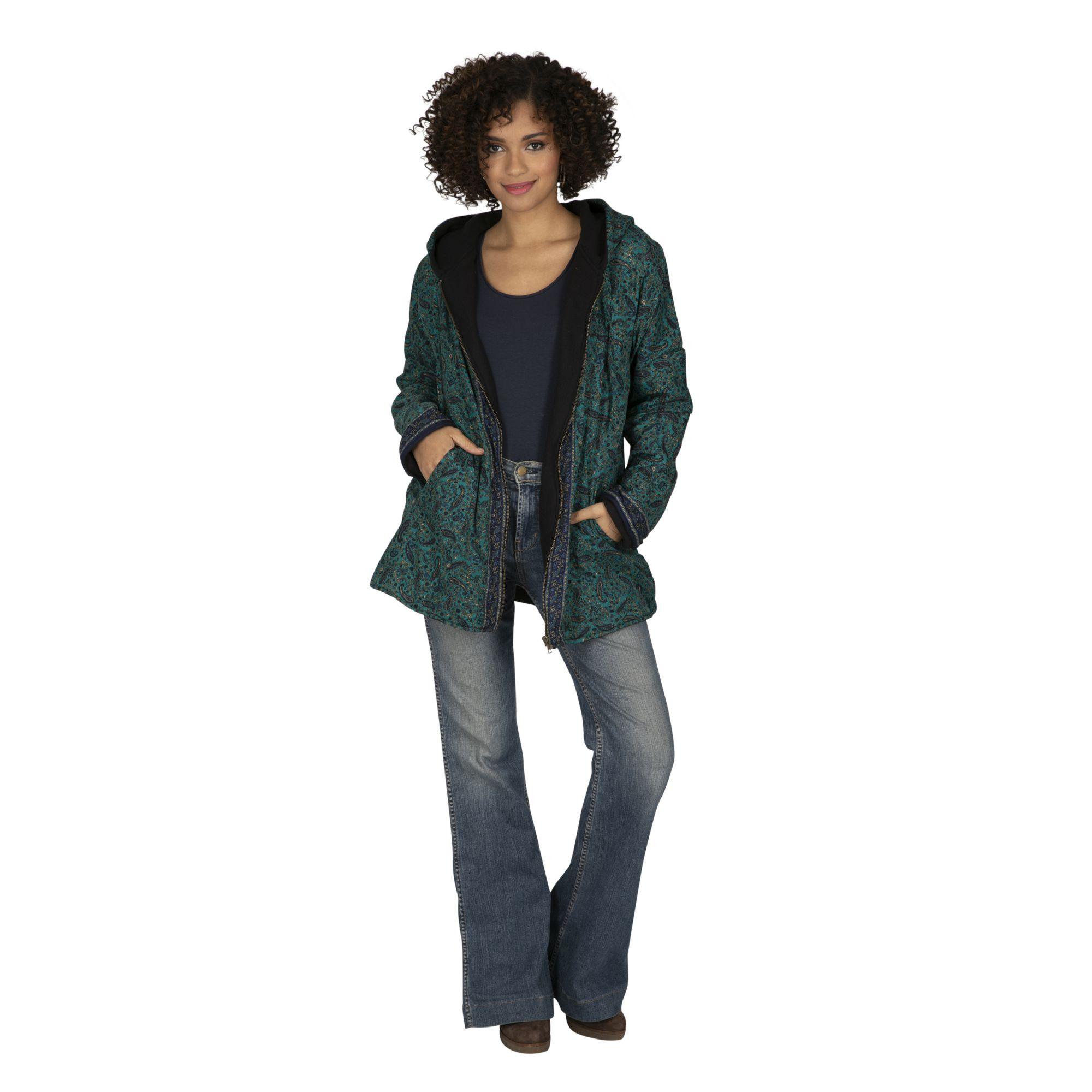 Veste femme automne ou hiver mi-longue à capuche Colomba