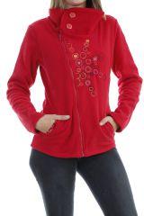 Veste femme avec col large à bouton tendance et imprimé rouge Naki 304053