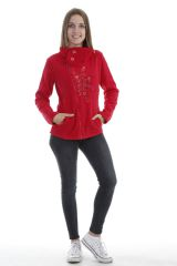 Veste femme avec col large à bouton tendance et imprimé rouge Naki 304054