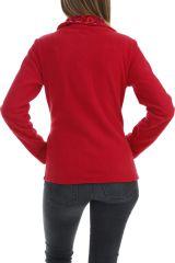 Veste femme avec col large à bouton tendance et imprimé rouge Naki 304055