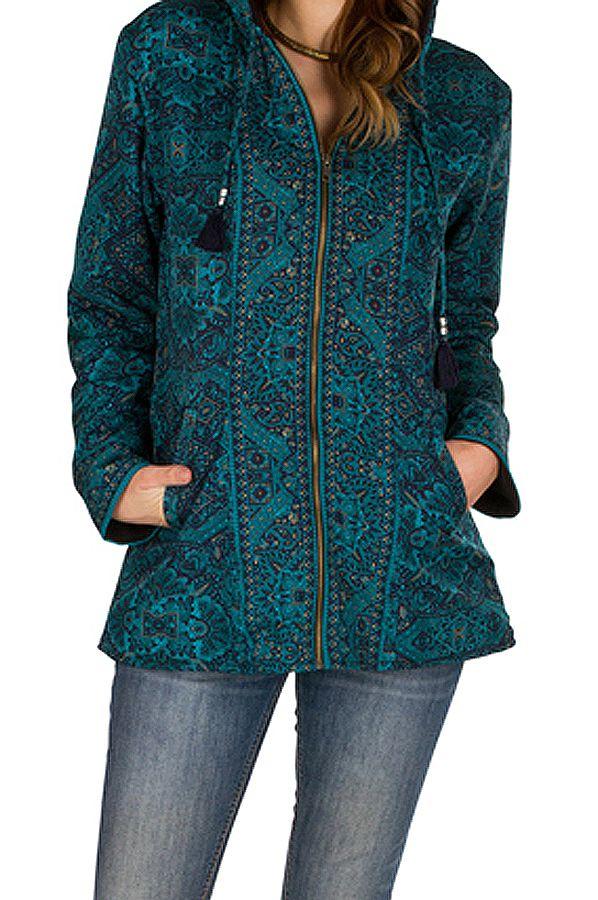 Veste femme avec un imprimé bleu et une capuche Sonia 305401