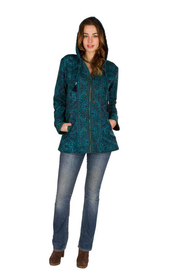Veste femme avec un imprimé bleu et une capuche Sonia 305402