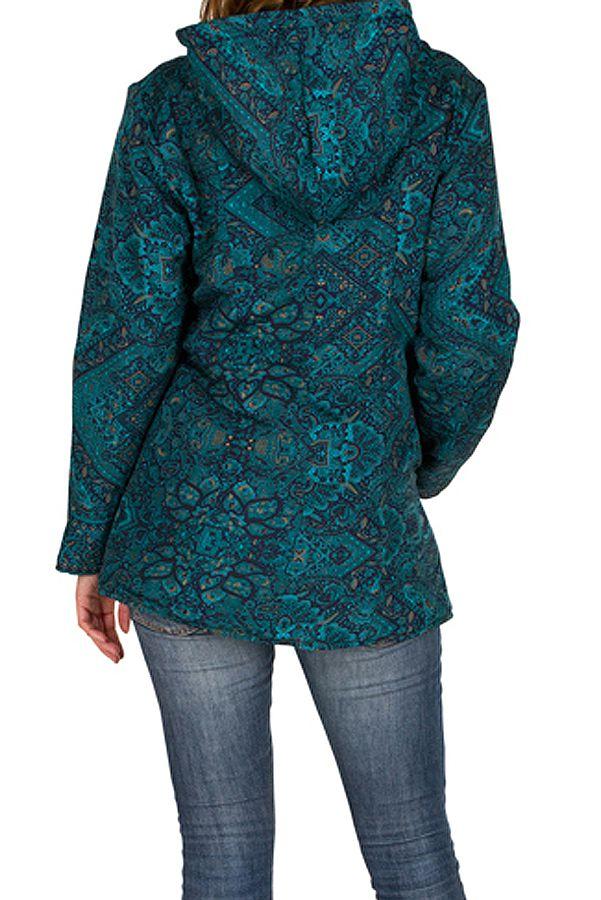 Veste femme avec un imprimé bleu et une capuche Sonia 305403
