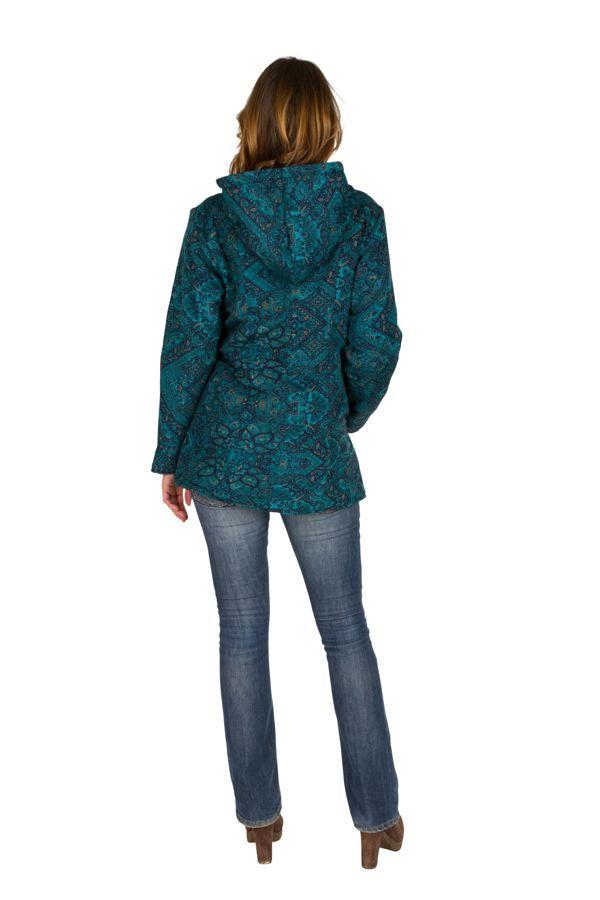 Veste femme avec un imprimé bleu et une capuche Sonia 305404