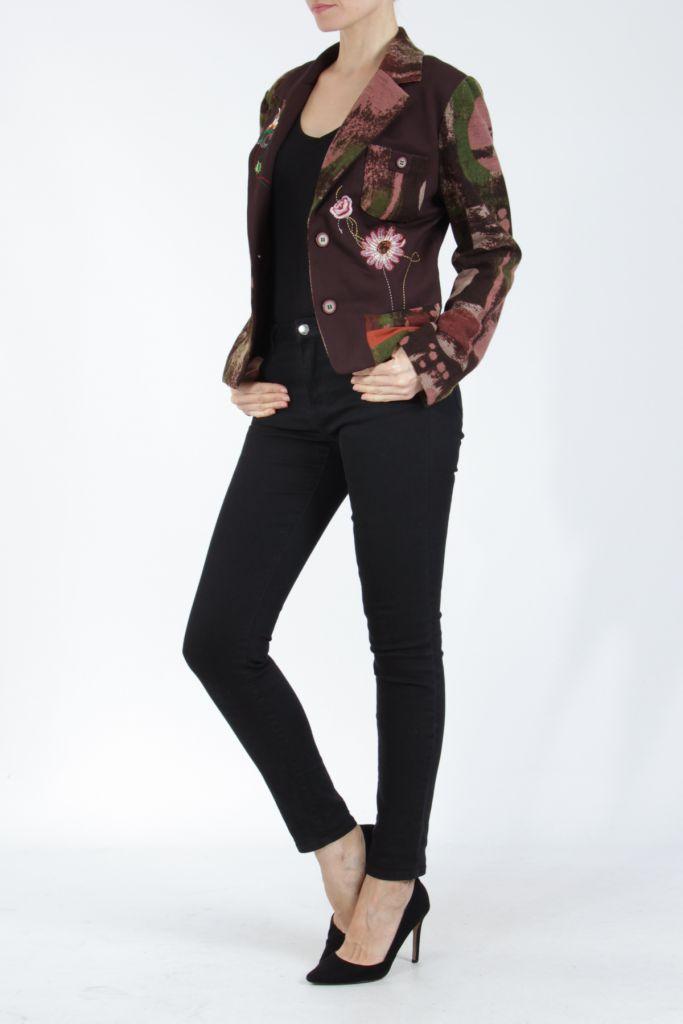 Veste femme courte avec un imprimé original marron Alik 304771