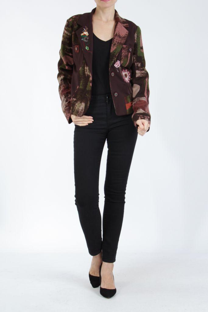 Veste femme courte avec un imprimé original marron Alik 304772