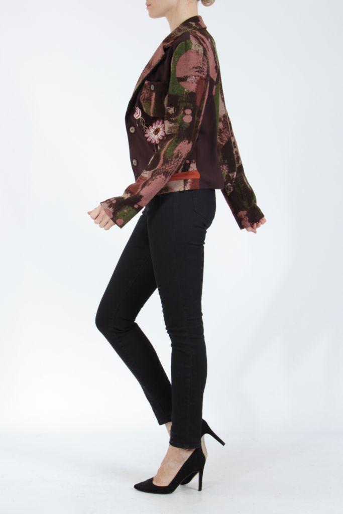 Veste femme courte avec un imprimé original marron Alik 304773