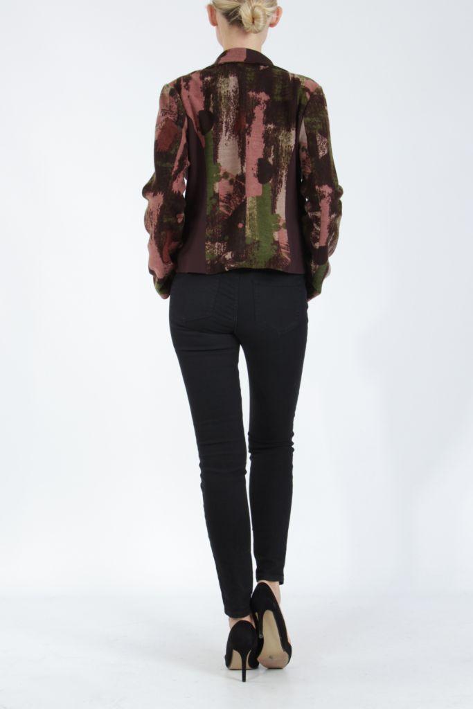 Veste femme courte avec un imprimé original marron Alik 304774