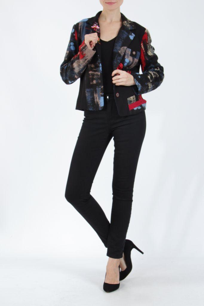 Veste femme courte avec un imprimé original rouge Alik 304762
