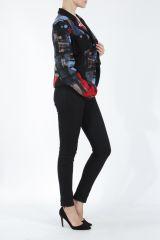 Veste femme courte avec un imprimé original rouge Alik 304763