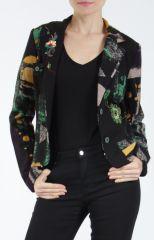 Veste femme courte avec un imprimé original verte Alik 304780