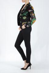 Veste femme courte avec un imprimé original verte Alik 304781