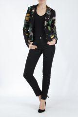 Veste femme courte avec un imprimé original verte Alik 304782
