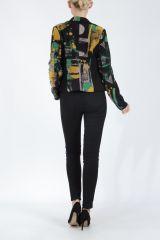 Veste femme courte avec un imprimé original verte Alik 304783