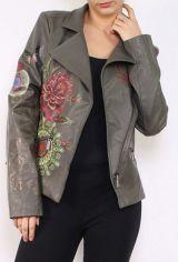 Veste femme courte kaki avec un imprimé floral Filia 304171