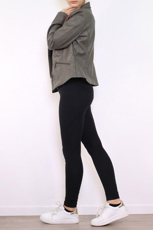 Veste femme courte kaki avec un imprimé floral Filia 304172
