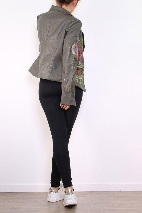 Veste femme courte kaki avec un imprimé floral Filia 304173