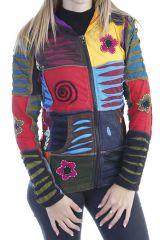 Veste femme courte patchwork à capuche Minelli 305067