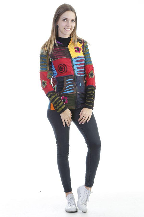 Veste femme courte patchwork à capuche Minelli 305068