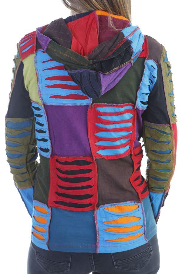 Veste femme courte patchwork à capuche Minelli 305069