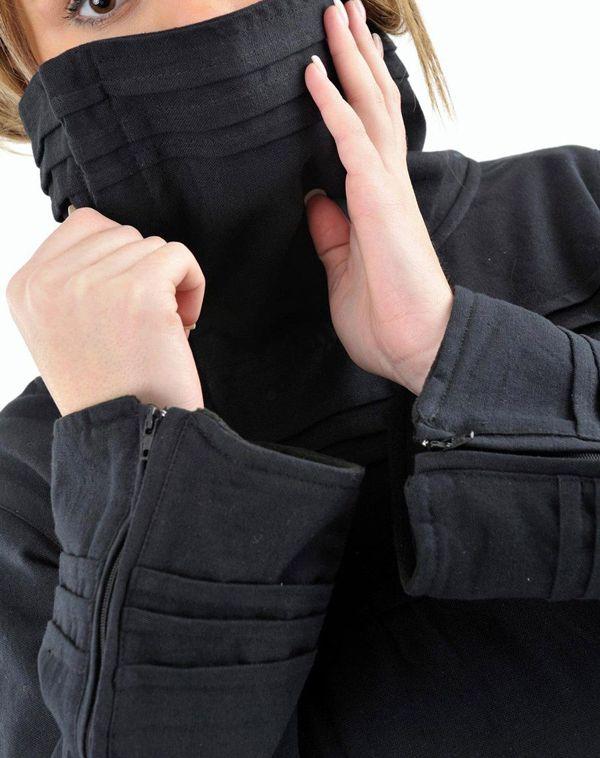 Veste femme de couleur noire ethnique doublée polaire Lamina 304629