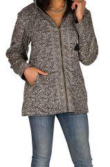 Veste femme grise imprimée avec une capuche Sonia 305389