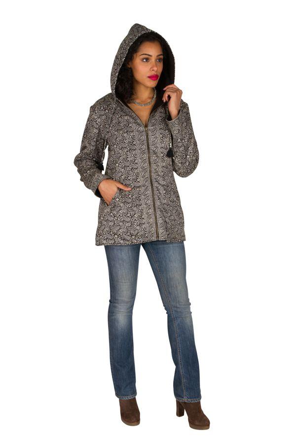 Veste femme grise imprimée avec une capuche Sonia 305390