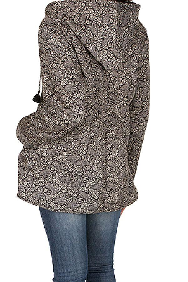 Veste femme grise imprimée avec une capuche Sonia 305391