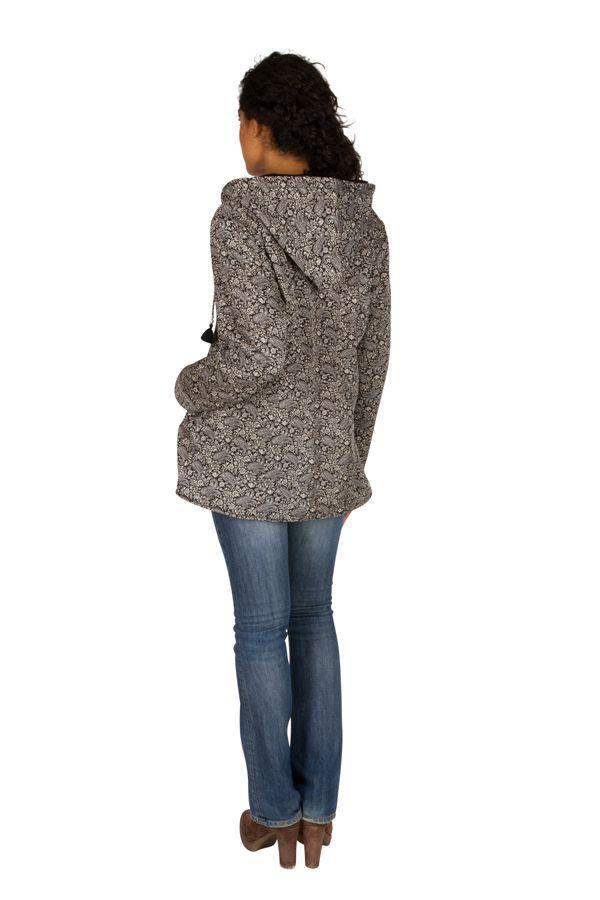 Veste femme grise imprimée avec une capuche Sonia 305392