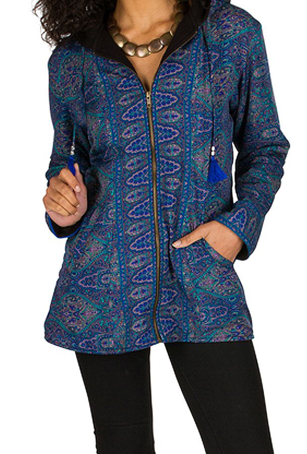 Veste femme imprimée look ethnique avec une capuche Sonia 305405