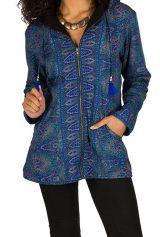 Veste femme imprimée look ethnique avec une capuche Sonia 307438